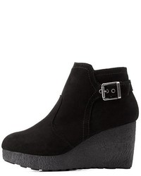 Bamboo Platform Wedge Ankle Booties