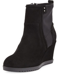 Taryn Rose Beula Suede Wedge Bootie Black