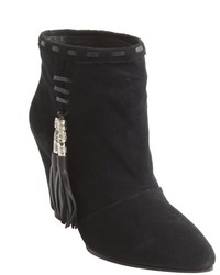 Madison Harding Black Suede Kreiger Tassel Detail Wedge Heel Ankle Boots