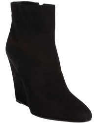 Prada Black Suede Side Zip Wedge Heel Ankle Boots