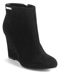Calvin Klein Cena Suede Wedge Ankle Boots