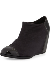 Taryn Rose Daphne Suedepatent Wedge Bootie Black