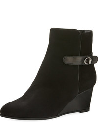 Aquatalia Jennifer Weatherproof Suede Wedge Bootie Black
