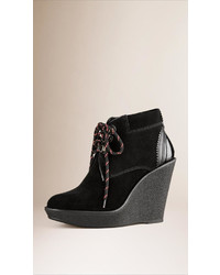 Burberry Lace Up Suede Wedge Ankle Boots