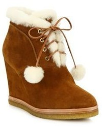 Michael Kors Michl Kors Collection Chadwick Suede Shearling Wedge Booties