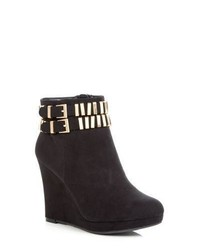 New Look Wide Fit Black Metal Trim Wedge Ankle Boots