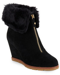 Kate Spade New York Stasia Faux Fur Accented Suede Wedge Ankle Boots