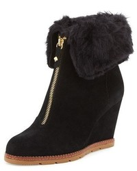 Kate Spade New York Stasia Shearling Cuff Wedge Bootie Black