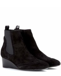Balenciaga Suede Brogue Wedge Ankle Boots