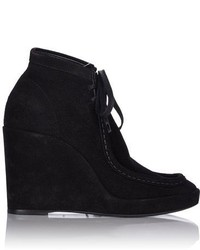 Balenciaga Suede Wedge Ankle Boots Colorless
