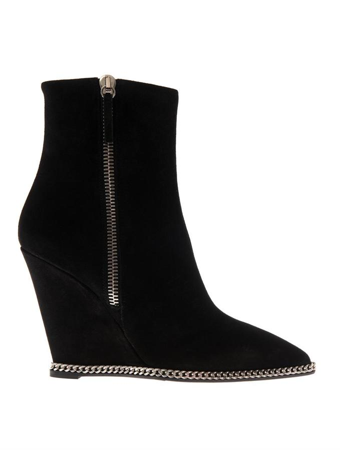 Giuseppe Zanotti Suede Wedge Ankle Boots | Where to buy & how to wear
