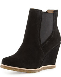 Splendid Tara Suede Wedge Bootie Black