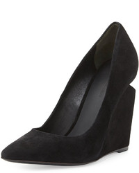 Alexander Wang Ine Suede Pointed Toe Wedge Pump Black