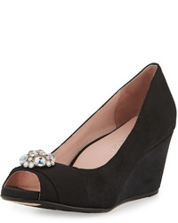 Taryn Rose Kande Jeweled Peep Toe Wedge Pump Black