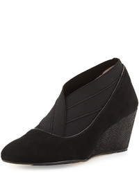 Taryn Rose Kikoriki Suede Wedge Pump Black