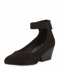 Eileen Fisher Liza Suede Ankle Wrap Wedge Pump