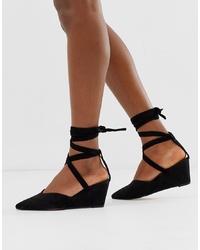 ASOS DESIGN Saxon Tie Leg Wedges