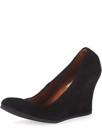 Lanvin Suede Ballerina Wedge Pump Black