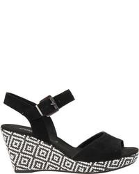 Gabor 25 792 Wedge Sandal Black Suede Sandals