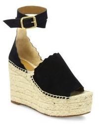 Chloé Chloe Lauren Suede Ankle Strap Espadrille Wedge Sandals