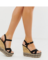New Look Cork And Espadrille Wedges In Black