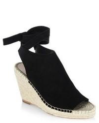 Loeffler Randall Lyra Split Suede Espadrille Wedge Sandals