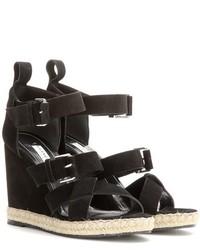 Balenciaga Rope Track Suede Wedge Sandals