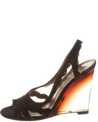 Lanvin Suede Wedge Sandals