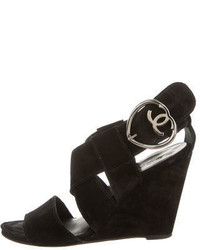 Chanel Suede Wedge Sandals