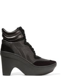 Y-3 Adidas Originals Sneak Clog Paneled Neoprene Suede And Textured Leather Wedge Sneakers
