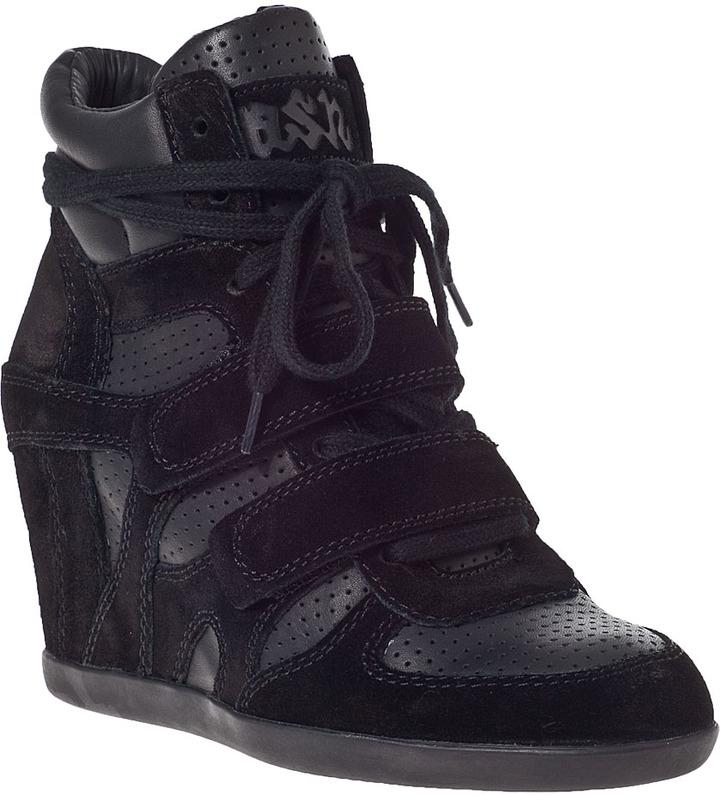 ... Ash Bea Wedge Sneaker Black Suede ...