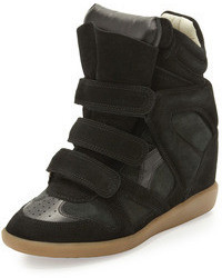 Isabel Marant Beckett Suede Wedge Sneaker Black
