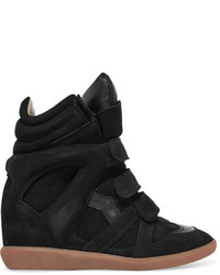Bekett leather trimmed suede wedge sneakers black medium 4392979