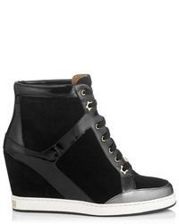 Jimmy Choo Preston Suede And Patent Wedge Sneakers