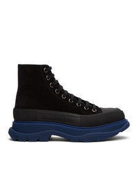 Alexander McQueen Black And Blue Suede Boots