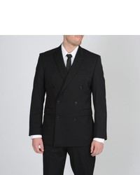 Calvin Klein Black Double Breasted Wool Suit
