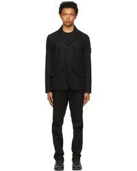 Stone Island Black O Cotton R Nylon Tela Two Piece Suit