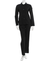 Jil Sander Black Pointed Collar Pantsuit