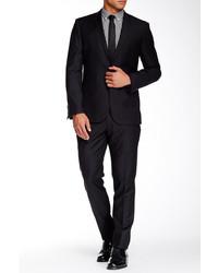 Ben Sherman Black Tonal Stripe Notch Lapel Two Button Wool Suit