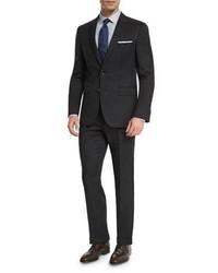 Hugo Boss Boss Johnstons Lennon Tonal Grid Slim Fit Basic Suit Black
