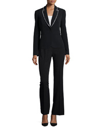 Albert Nipon Long Sleeve Beaded Tuxedo Pant Suit