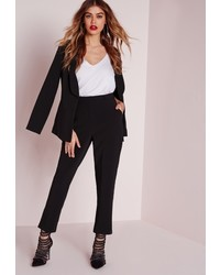 Missguided Button Detail Suit Cigarette Trousers Black