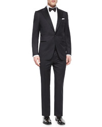 Ermenegildo Zegna Peak Lapel One Button Wool Tuxedo Black
