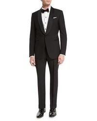 Ermenegildo Zegna Satin Shawl Collar Two Piece Tuxedo Suit Black