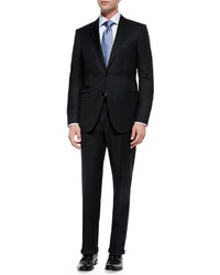 Ermenegildo Zegna Solid Two Piece Suit Black