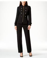 Tahari asl zip front military pantsuit medium 404322