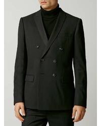 Topman Premium Black Textured Double Breasted Tuxedo Jacket