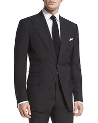 Tom Ford Windsor Base Peak Lapel Two Piece Suit Black