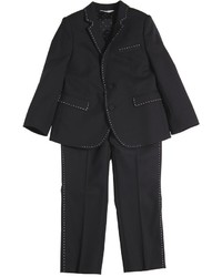 Dolce & Gabbana Wool Suit W Contrasting Color Stitching