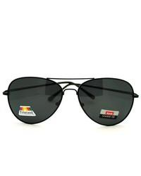 106Shades Classic Cop Pilot Aviator Sunglasses With Polarized Lens Black